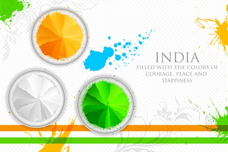 independence day: illustration of gulal in tricolor of Indian flag