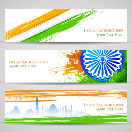 illustration of set of banner and header for colorful India Vector
