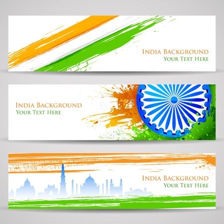 independencia: Ilustraci�n del conjunto de banners y cabecera de colorido la India