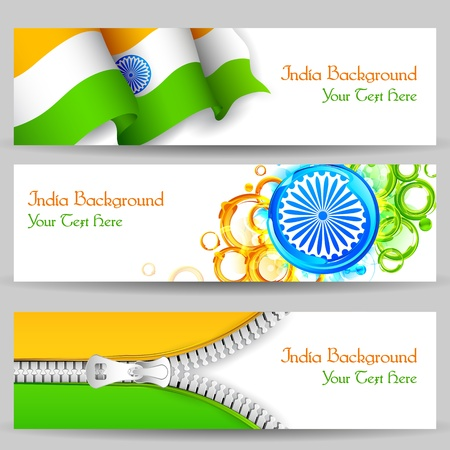 26: illustration of set of banner and header for colorful India