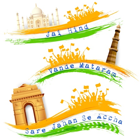 india people: illustration of set of banner for colorful India with monument Illustration