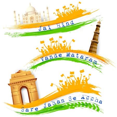 enero: Ilustraci�n del conjunto de la bandera de la India colorido con el monumento