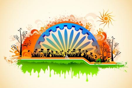 agosto: illustrazione di sventolare bandiera indiana cittadino sulla bandiera tricolore