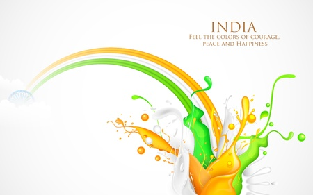 illustration of colorful splash of India Tricolor Illustration