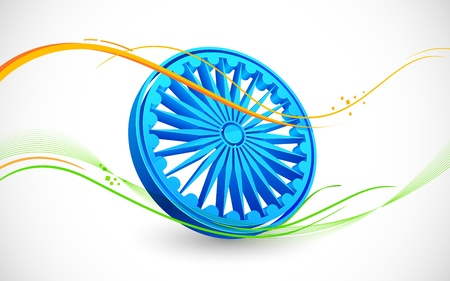 illustration of wave of Indian flag tricolor with Ashok Chakra Stock Vector - 21471017