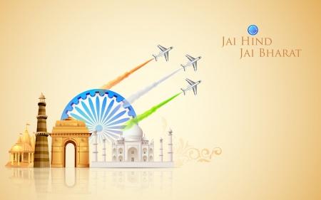 agosto: illustrazione di aeroplano rendendo bandiera indiana sul monumento fondale