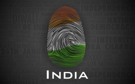 odcisk kciuka: Ilustracja z odciskiem palca w Indian kolorze pokazano dumny India Ilustracja