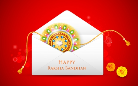 raksha: illustrazione di decoratative Rakhi in busta per Raksha Bandhan