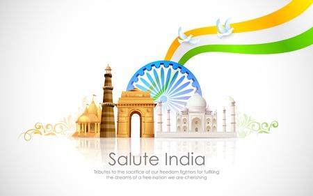 기념비와 물결 모양의 인도 국기의 그림 일러스트