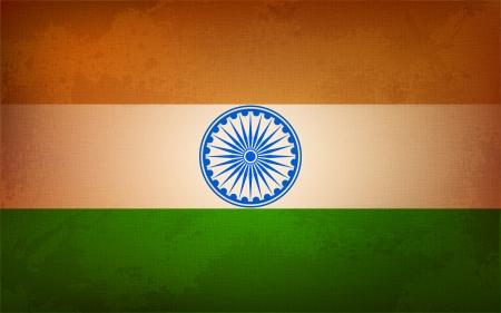 ashok: illustration of grungy Indian Flag background