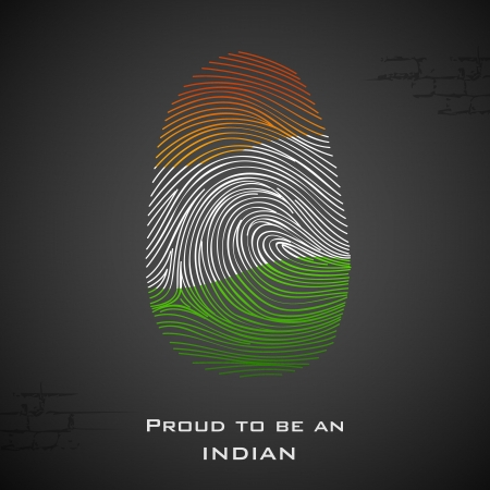 india people: illustration of thumbprint in Indian color showing proud to be an India