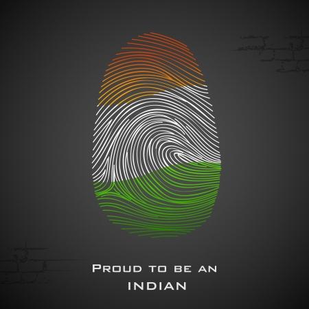 odcisk kciuka: Ilustracja z odciskiem palca w Indian kolorze pokazując dumni, że Indie