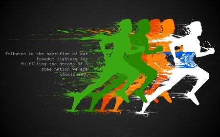 revolution: illustration of runners in grungy Indian tricolor