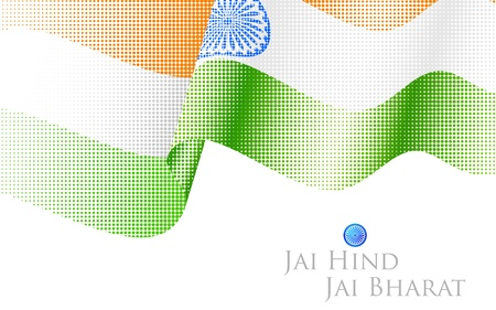illustration of abstract halftone Indian Flag Vector