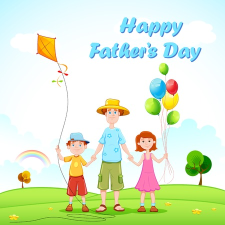 illustration of father playing with kids Vector