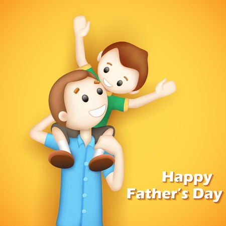 piggyback ride: illustration of father giving boy piggy back ride in Fathers Day