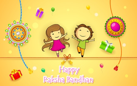 raksha: illustration of brother and sister with rakhi on Raksha Bandhan