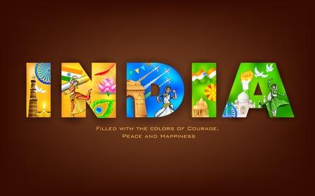 bandera de LA INDIA: ilustración de la India de fondo que muestra su cultura Vectores
