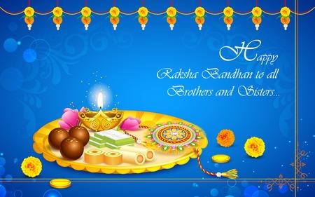 illustration of decorated thali with rakhi for raksha bandhan Vector