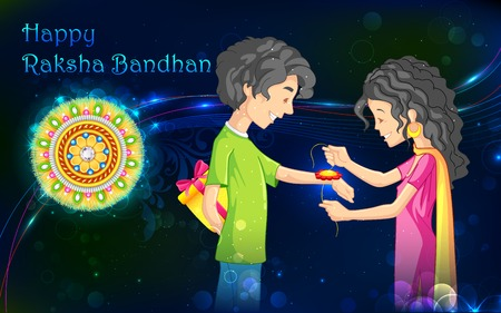 illustration of brother and sister tying rakhi on Raksha Bandhan Vector