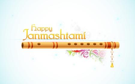 flauta: ilustración de fondo Feliz Janmasthami con colorido floral