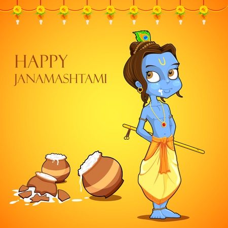 illustration of Lord Krishana in Janmashtami Vector