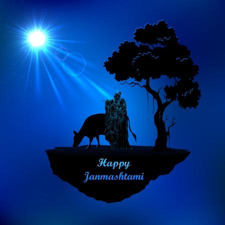 seigneur: illustration de Radha et Krishna dans Janmasthami nuit