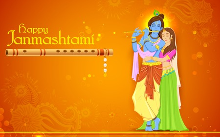 lord krishna: illustration of hindu goddess Radha and Lord Krishna on Janmashtami