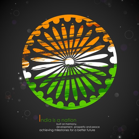 illustration of abstract grungy Indian flag with Ashok Chakra Stock Vector - 25749261