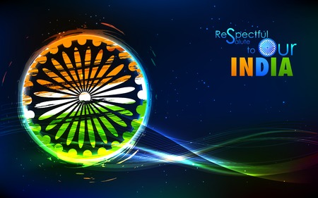 illustration of abstract grungy Indian flag with Ashok Chakra Illustration