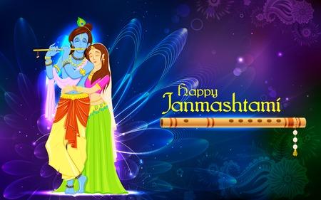 krishna: illustration de la déesse hindou Radha et Krishna sur Janmashtami Illustration