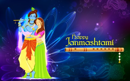 krishna: illustration of hindu goddess Radha and Lord Krishna on Janmashtami