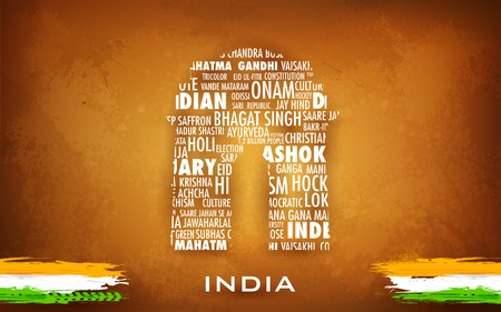 illustration of typography India Gate on abstract background Vector