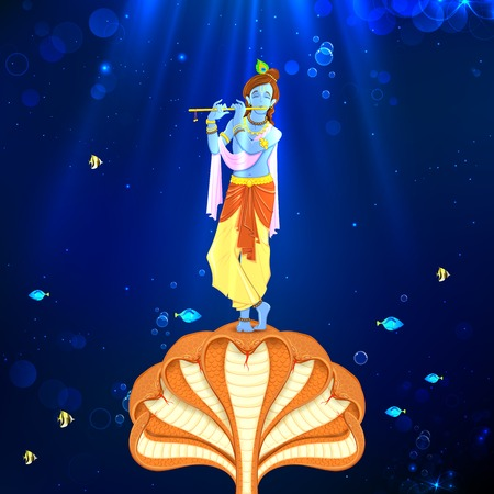 illustration of Krishna dancing on Kaliya naag
