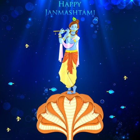 krishna: illustratie van Krishna dansen op Kaliya naag Stock Illustratie