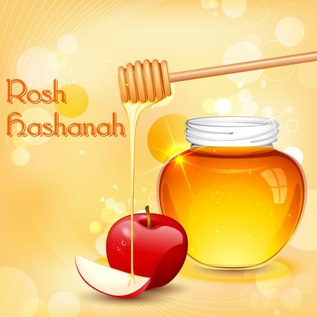 hashanah: illustration of Rosh Hashanah background with honey on apple