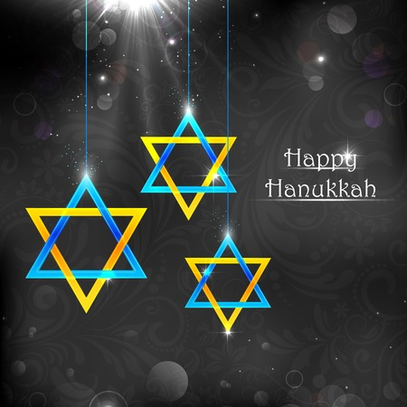 jews: illustration of Happy Hanukkah background with hanging star of David Illustration