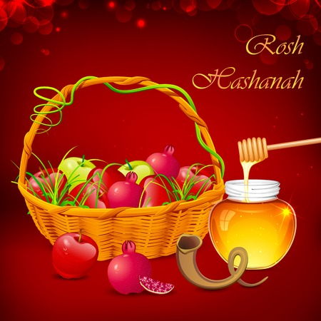 dipper: illustration of Rosh Hashanah background with honey on apple
