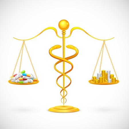balance beam: illustration of caduceus beam balance with medicine and coin