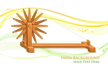 homespun: ilustraci�n de rueda que gira en la India de fondo Vectores