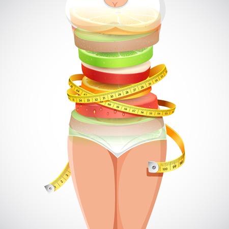 果実形成測定テープとスリムな女性のイラスト  イラスト・ベクター素材