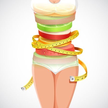 illustration of fruit forming slim lady with measuring tape Illusztráció