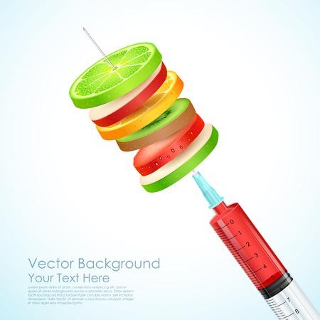 an injection needle: illustration of healthy fruit slices in syringe needle Illustration