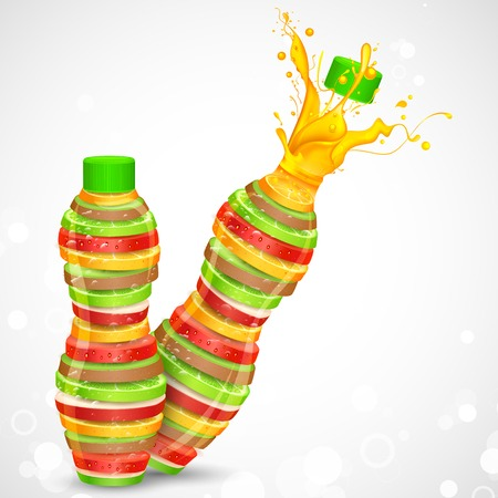 apple juice: illustration of juice bottle made of fresh fruit