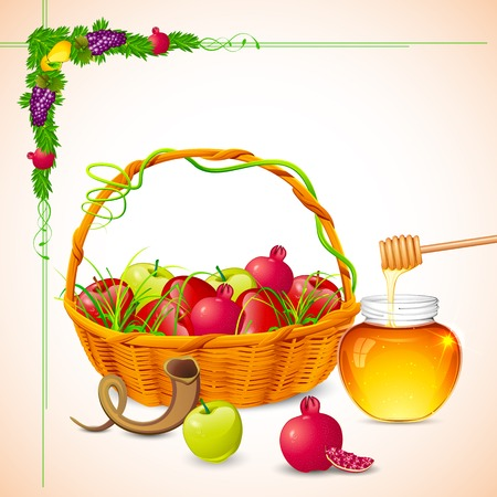 illustration of Rosh Hashanah background with honey on apple Vector