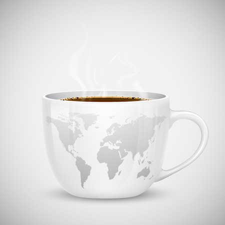 illustration of coffee cup with world map Vector