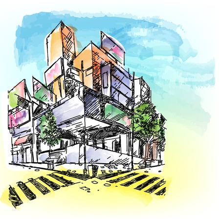 housing development: illustration of building inwatercolored style Illustration