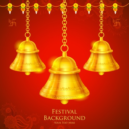 hindu temple: illustration of temple bell hanging on festival background Illustration