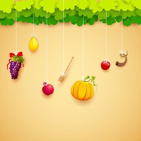 jewish festival: illustration of fruits hanging for Jewish festival