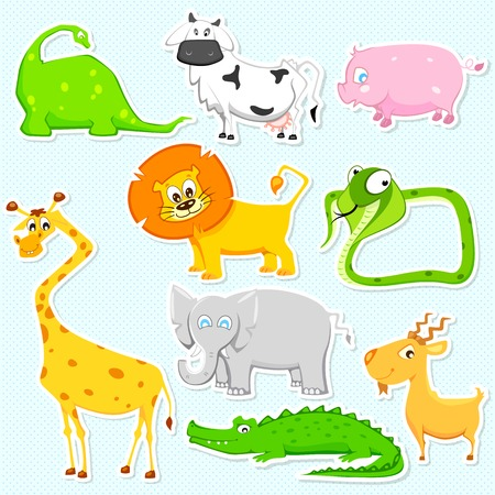 illustration of set of cute animal sticker Vector